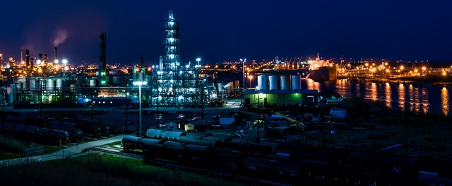Refinery lit up at night