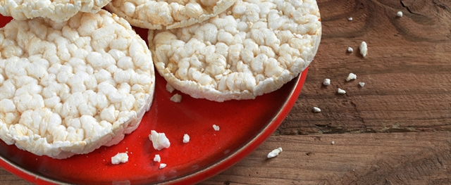 Rice Cakes on a Red Plate