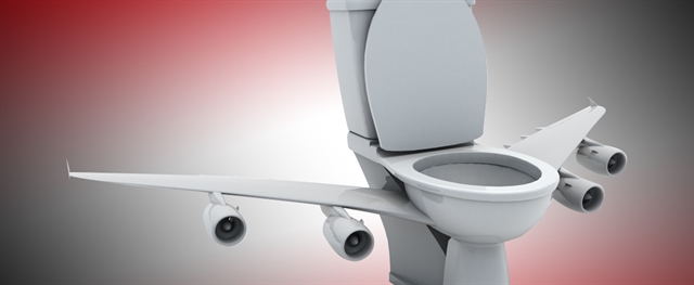 Toilet with Airplane wings