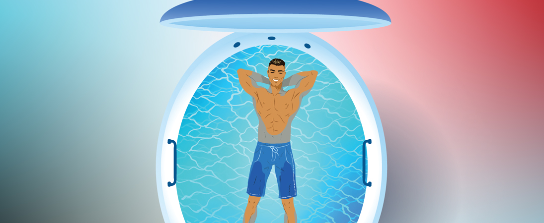 Drawing of a person in a Sensory Deprivation (Float) Tank
